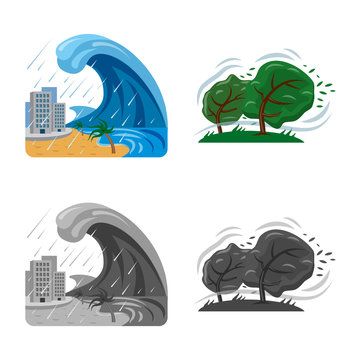 Vector design of natural and disaster symbol. Set of natural and risk stock symbol for web.