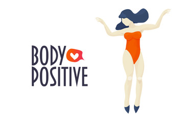 Body positive plus size woman. Vector illustration in trendy style. Body positive feminism movement concept with happy dancing girl figure in retro orange swimsuit and heart shape icon.