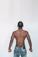 Anonymous shirtless black man
