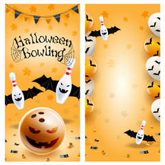 Halloween bowling flyer template. Vector clip art illustration.