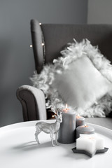 Christmas candles and decor in the home interior