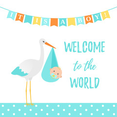 Baby Shower boy card. Vector. Cute blue banner with stork, kid, flags, polka dot pattern. Baby boy birth party poster in flat design. Sweet template invite background. Colorful cartoon illustration.