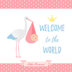 Baby Shower girl card. Vector. Baby girl birth party poster with stork, newborn kid, polka dot pattern. Sweet pink banner in flat design. Cute template invite background. Colorful cartoon illustration