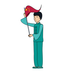 chinese man with traditional costume and flag
