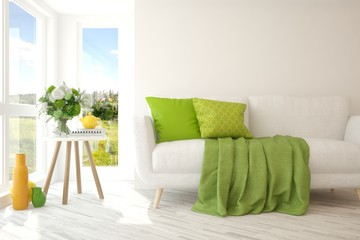 White room with colorful furniture and green landscape in window. Scandinavian interior design. 3D illustration