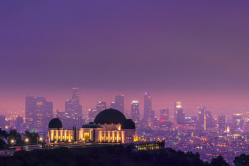 Nighttime at the Griffith Observatory with downtown Los Angeles in the background