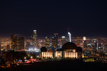 Aerial view of Griffith Observatory with Downtown Los Angeles in the background
