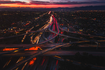 Judge Harry Pregerson Interchange in Los Angeles at sunset