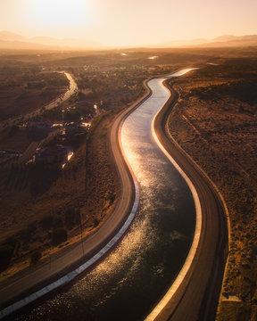 California Aquaduct at sunset