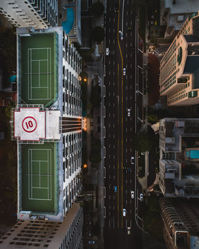 Tennis court on top of a building