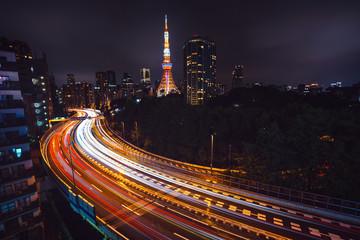Tokyo skyscraper overlooking night traffic
