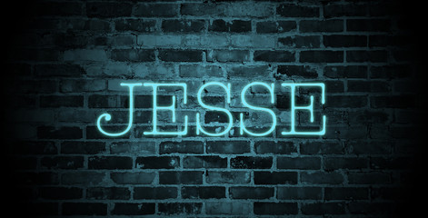 first name Jesse in blue neon on brick wall