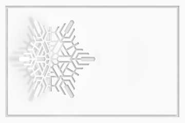 New year's eve greeting card concept. Snowflake cut from paper, casting a shadow. 3d illustration