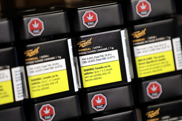 Products from cannabis brand Tweed are pictured on the shelf at the Thomas H. Clarke Distribution retail store in Portugal Cove-St. Philip's