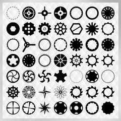Set of black steampunk gears vector image