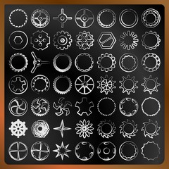 Set of gears on a blackboard vector image