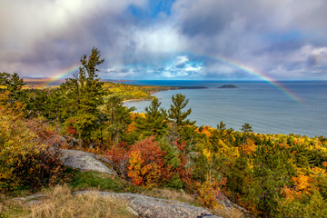 Rainbow at Sugarloaf Mountain in Autumn, Marquette Michigan