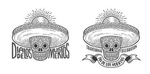 Skull in sombrero decorated with patterns  -  logo  tattoo to Dia de lod muertos.  Day of the dead emblem retro engraving style.