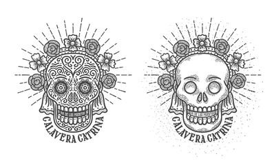 Calavera catrina. Cranium with decorations symbol of mexican holiday dia de los muertos - day of the dead in spanish. Engraving vintage style.