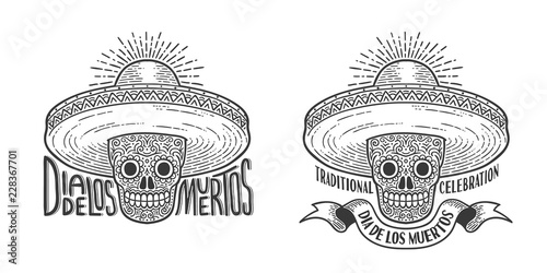 b593ffb564d73 Skull in sombrero decorated with patterns - logo tattoo to Dia de lod  muertos. Day