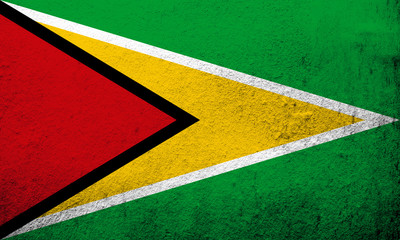 """The Co-operative Republic of Guyana National flag """"The Golden Arrowhead"""". Grunge background"""