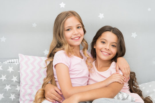 Best girls sleepover party ideas. Soulmates girls having fun sleepover party. Childhood friendship concept. Girls happy best friends sleepover domestic party. Sleepover time for fun gossip story