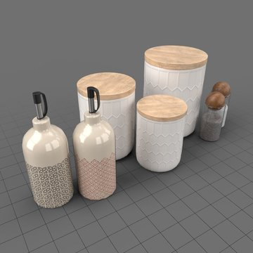 Jars, bottles with salt and pepper shakers