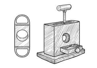 Cigar cutter illustration, drawing, engraving, ink, line art, vector