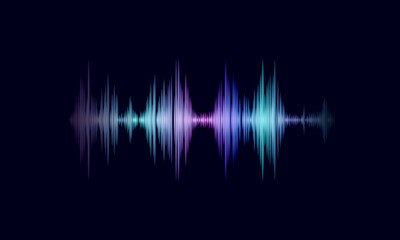 Sound oscillating wave colorful glowing music. Recognition voice assistant technology waveform. Audio equalizer digital computer concept vector illustration
