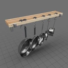 Pans hanging on rack 2