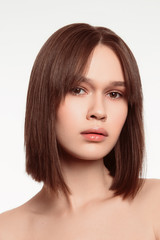 Beautiful brunette woman closeup