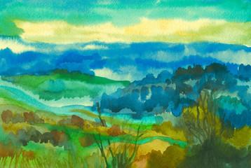 Watercolor fresh autumn evening