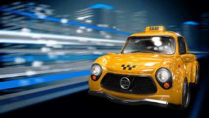 Жёлтое такси едет по трассе ночного города