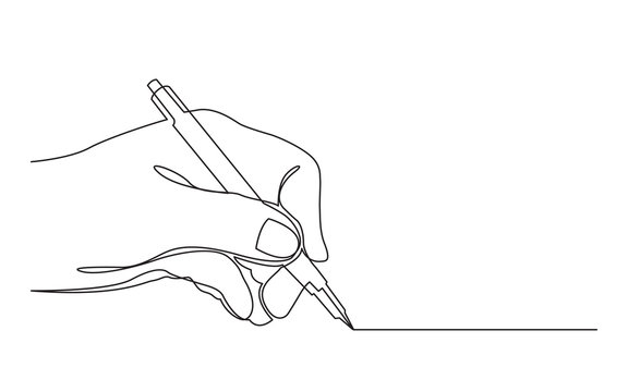 continuous line drawing of hand drawing line with pen