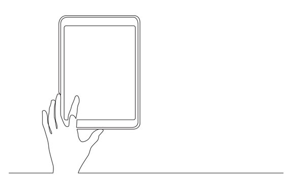 continuous line drawing of hand touching digital tablet