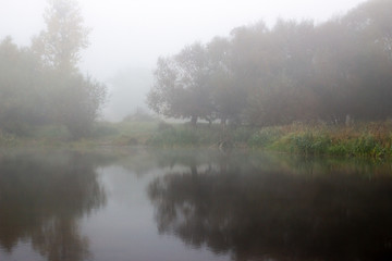 Lake in the fog of reflection