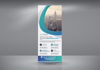 Advertising Roll-Up Banner Layout with Blue Gradient Accents