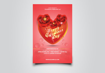 Valentine's Day Party Flyer Layout with Heart and Rose Elements