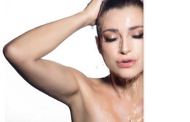 Spa woman. Young beautiful woman during shower