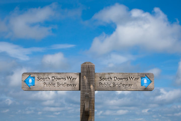 A Signpost on the South Downs Way between the Clayton windmills and Ditchling Beacon UK