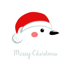 White Christmas bird head with a Santa hat, vector illustration