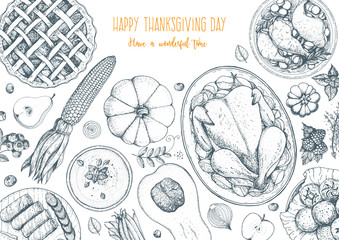 Thanksgiving day top view vector illustration. Food hand drawn sketch. Festive dinner with turkey and potato, corn, grilled vegetables, berries. Autumn food sketch. Engraved image.