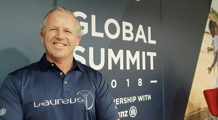 Former All Blacks captain Sean Fitzpatrick talks during an interview with Reuters at the Laureus Global Summit in Paris