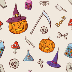Halloween color seamless pattern.