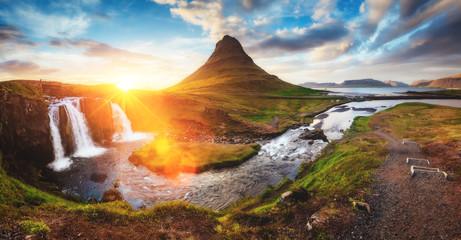Fantastic evening with Kirkjufell volcano. Location famous place Kirkjufellsfoss waterfall, Iceland, Europe.