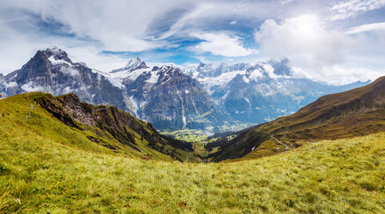 Great view of alpine hill. Location place Swiss alps, Grindelwald valley.