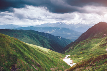 Fantastic range in mist at the foot Ushba. Location Svaneti, Mestia, Georgia, Europe.