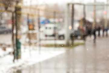 blurred background for winter street