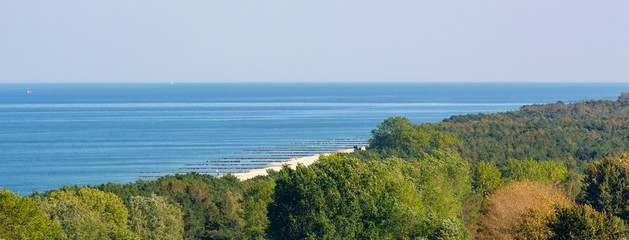 Hel Peninsula and the Baltic Sea, view from the top of the tower in Wladyslawowo. Poland