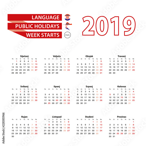 calendar 2019 in croatian language with public holidays the country of croatia in year 2019